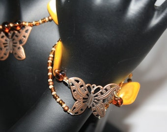 Butterfly jewelry set with Pearl
