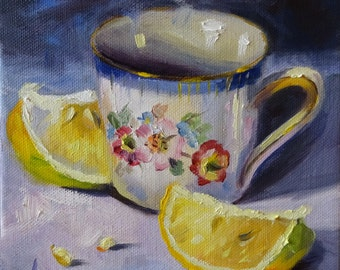 "Little Mug and Lemons, 6x6 Original Oil on Gallery Wrapped Canvas, ready to hang or prop on a table/countertop. Sides are 1.25"" deep."
