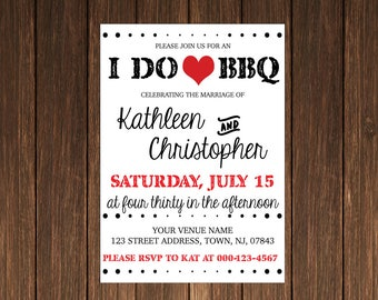 "Printable ""I DO BBQ"" wedding invitation, bridal or baby shower invite, Downloadable customizable text and colors"