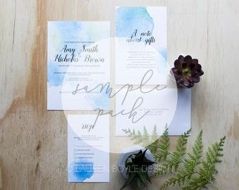 SAMPLE SET - Blue Watercolour Script Wedding Invitations, Watercolour Wedding Invitations, Wedding Invitations, Printed Invitation Set