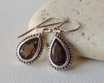 Smoky Quartz Sterling Silver Earrings, Vintage Dangle Drop Brown Earrings, Dangle Teardrop Pierced Earrings, Quartz Gemstone Retro Earrings