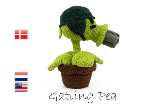 Crochet pattern Gatling Pea (Plants vs Zombies)