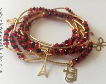 Cherry red  and black beaded bracelets with gold plated charms - Semanario combinacion rojo cereza y negro con dijes de chapa de oro