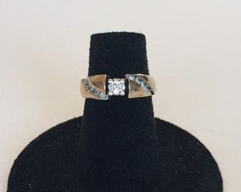10 k yellow gold engagement ring with side diamonds
