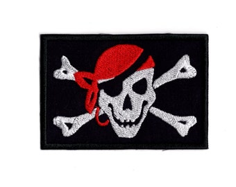 Jolly Roger Skull Pirate emblem Iron/sew on patch
