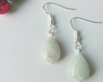 Apple Green Jade Drop Earrings
