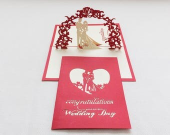 Wedding 3-D Pop-Up Card, Hand-crafted, Chinese paper-cut, Renewal Cards