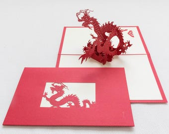 Dragon, 3-D Pop-Up Card, Hand-crafted, Chinese paper-cut, Renewal Cards