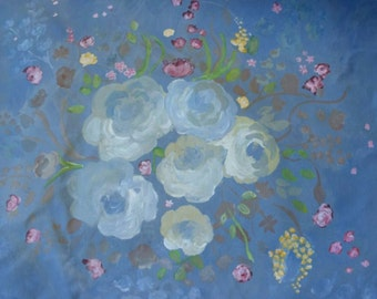 """Faded Blues -  Faded roses with wild flowers on faded denim blue canvas. Original artwork  """" x  """""""