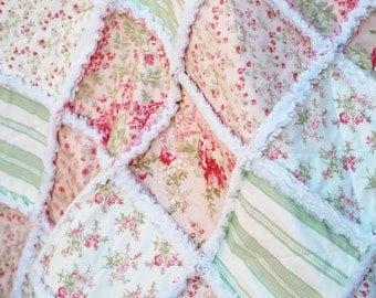 Rag Quilt, Baby Girl, 36 x 36, Cottage Style, Shabby Chic, Peach, Pink, Green, White