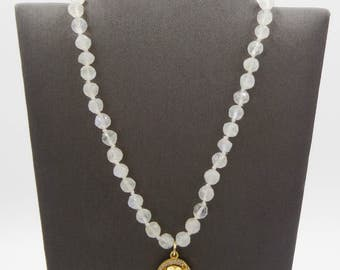 Rainbow Moonstone Beaded Chain & Pyrite with White Topaz Pendant