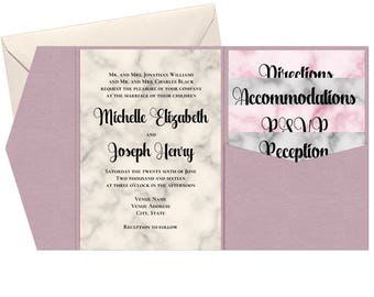Printable Pocketfold Marbled Wedding Invitation Suite - Editable Template - Champaign, Blush, & Grey Wedding Invitations - Instant Download