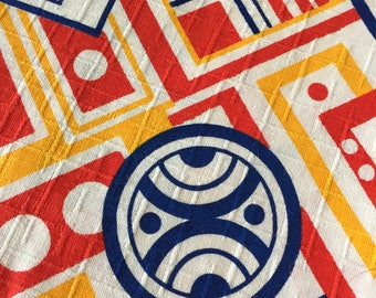 Amazing Mid-Century Mod Vintage Fabric - Over 1 sq. Yard Retro 60s Primary Colors Bright Geometric Pattern - Kitschy Loud