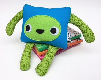 Blue and Green Monster Plushie, Friendly Felt Monster, Kids Room Decoration
