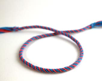 Pink and Blue Petite/Mini Spiral Kumihimo Bracelet
