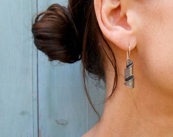 Oxi Rustico Spiral Earrings, 925, Sterling Silver, Handmade, Gift, Made in Ontario, Canada