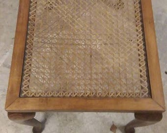 Edwardian glass and ratten topped table in oak