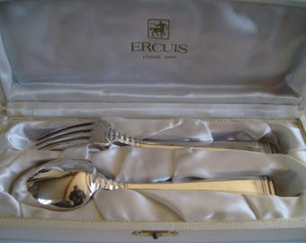 Set of 1 fork and 1 spoon silverplate Ercuis Paris in box