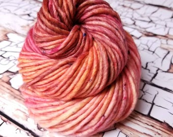 "Hand Dyed Yarn.  Indie Dyed Yarn.  Super Bulky Yarn.  ""Berry Lemonade"""