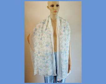 "NWT Giorgio Armani Collection 100% Seta SILK Chiffon Long Scarf Stole Wrap~REVERSIBLE~White/Blue Floral~70""Lx17""W~Summer Wedding~New & Mint!"