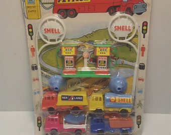 Vintage Shell Gas Station Toy Set