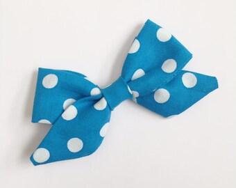 Blue Sailor Bow, Polka Dot Sailor Bow, Sailor Bow, Blue and White Polka Dot Bow, Sailor Bow, Baby Bow, Toddler Bow, Nylon Headband, Headband