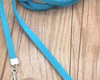 Blue Velvet Leaf Charms Choker Long Necklace