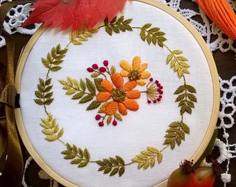 flowers embroidery kit - embroidery hoop art, flower power, DIY stitching kit, spring pattern - hand stitching
