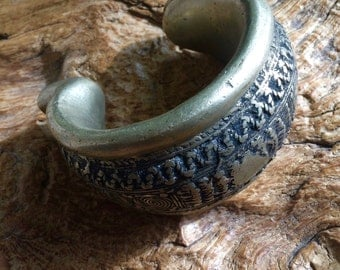 African Currency Silver Bracelet Dowry Cuff