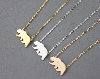 Tiny Gold Bear Pendant Necklace . Tiny Charm Necklace Dainty and Simple Necklace Birthday Gift