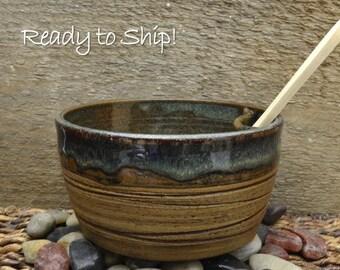 Textured Dip Bowl, Dip Bowl Set, Dip Serving Bowl with Wooden Spreader glazed in Montana forest