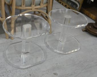 Pair of Lucite Side Tables / Benches Palm Beach Regency