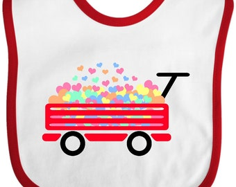 Red wagon with hearts Baby Bib by Inktastic