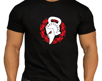 Quality Men's Kettlebell Spartan Ring of Fire T-Shirt. Gym Training Crossfit Workout MMA.