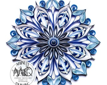 Art Print | Mandala in Blues | Original Quilled Paper Art
