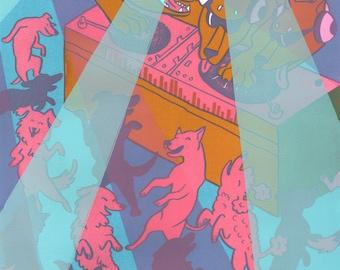 Bowwow Silkscreen Print / Dancing Dogs