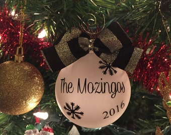 Christmas ornament, personalized ornament, 2017, frosted glass ornament