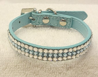 Rhinestone Dog Collar, Swarovski Aquamarine Blue Bling Dog or Cat Collar with Rhinestone Buckle, X-SMALL Pet Collar, Pet Jewelry