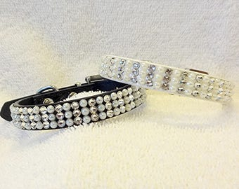 Pearl Wedding Collar, Swarovski Rhinestones Dog Collar or Cat Collar, X-Small Sparkling Bling Dog Jewelry