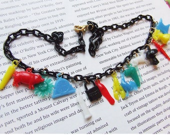 Vintage Inspired Mini Gumball Charms Necklace - 40's 50s celluloid jewelry inspired