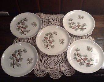 """Vintage, Stetson Marquest, Brown and Green pine bough five, 6 1/2"""" bread plates, midcentury, country, cabin, upnorth, western, northwest"""