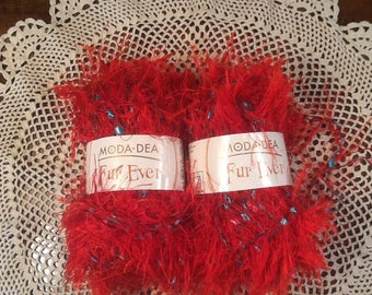 Coats, Fur Ever Yarn, Moda-Dea, Red Hot, with blue accents, 2 skeins, Lot 5879 color 3926, varigated yarn, 1 .76oz, 49 yards