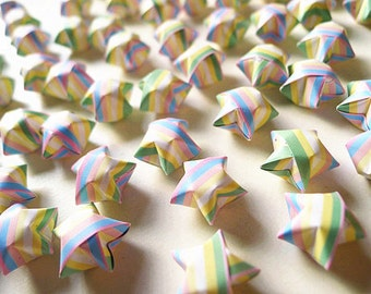 Pastel Striped Origami Lucky Stars - Gift For Baby Shower/Home Decor/Confetti/Embellishment