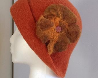Wool, Felted Hat, Womens, Winter Cap, Pumpkin Color,Felted Flower