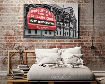 Chicago Cubs, Cubs World Series, Cubs, Wrigley Field, Cubs Canvas, Neon Sign, Chicago Gift, MLB, Cubbies, Mens Gift, Man Cave, Baseball Art