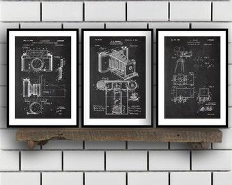 Camera Patent Prints, Camera Set of THREE, vintage Camera Invention Patent, Camera Poster, Camera Print, Camera, Camera Bag SP266