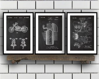 Harley Davidson Patent Posters Group of 3, Harley Davidson Prints, Vintage Motorcycle, Motorcycle Parts, Motorcycle Harley Patent, SP290