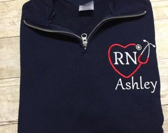 Personalized stethoscope nurse quarter zip sweatshirt