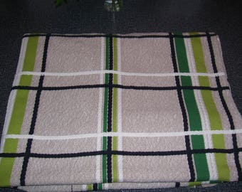 Boy's Bedspread Toughcord Bedspread Woven CLEAN Single Twin Beige Green 67x86 Vintage