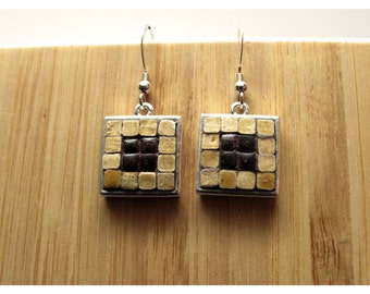 Mosaic Jewelry, Mosaic Art, Mosaic Earrings, Moroccan tiles, Honey, sterling silver, Pewter